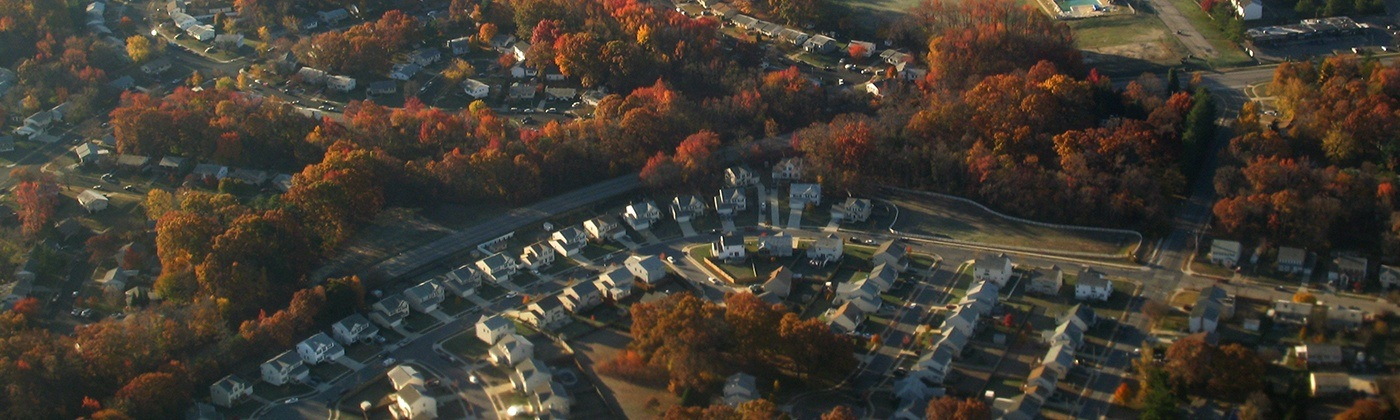 Aerial view of the town of Millersville Maryland